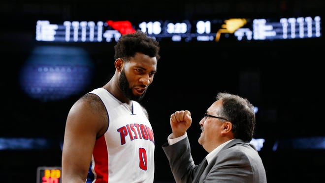 Pistons coach Stan Van Gundy congratulates center Andre Drummond in the second half against the Pacers Saturday at the Palace. Detroit won, 118-96.