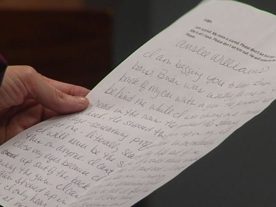Denise Winchester holds a statement she read in court