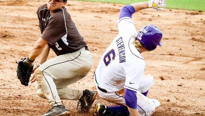 LSU baseball action such as center fielder Andrew Stevenson sliding safely into second base during the Tigers' 10-3 win over Lehigh on Friday at the NCAA Baton Rouge Regional, will be available on ESPN3 Sunday night, not the SEC Network.