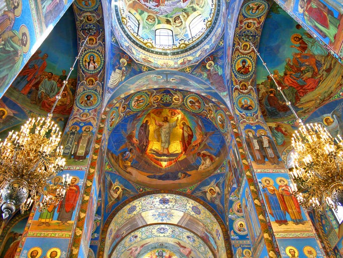 The church's interior is no less colorful,