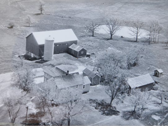 A Prohibition-era aerial view of a farm along Silica