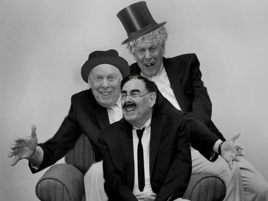 Monty Engelmann, 87, portrays Groucho, Chico and Harpo Marx for August 2018 image of a new calendar from residents of Burcham Hills Retirement Community.