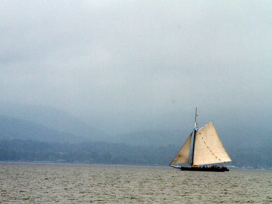 The Sloop Clearwater sails on the Hudson River during