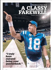 IndyStar special section front from  March 8, 2012 on Peyton Manning's goodbye to Indianapolis.