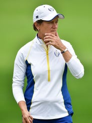 Catriona Matthew, pictured Tuesday at Des Moines Golf