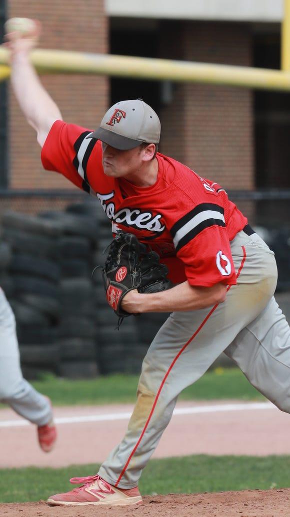Fox Lane's Thomas O'Sullivan (19) pitches during baseball game at Mamaroneck High School on May 7, 2018. Fox Lane defeats Mamaroneck 5-3.