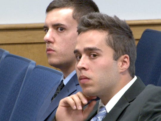 Christopher Tilton (left) and Nicholas Formica, the two men accused of offering autistic Parker Drake $20 and two packs of cigarettes to jump off the Manasquan jetty in February of 2015, are shown in the Manasquan municipal courtroom as their trial got underway Tuesday, April, 26, 2016 .The prosecutor is Anthony Vecchio. Tilton's attorney is Alton Kenney. Formica's attorney is Jason Volet. The trial is before Manasquan municipal Judge Paul J. Capotorto.