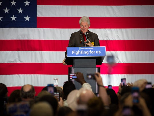Former United States President Bill Clinton, campaigning for his wife, presidential candidate Hillary Clinton, addresses a crowd at the Alamosa Community Center in Albuquerque, on Wednesday, May 25, 2016.
