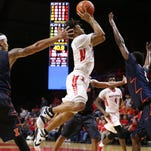 Corey Sanders of Rutgers puts up a shot during triple-overtime against Illinois, Wednesday, February 3, 2016, at the LBAC in Piscataway.