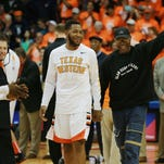 David Lattin, a member of the 1966 NCAA championship team, was introduced along with present Miner Terry Winn during a pre-game ceremony Saturday Feb. 6, 2016 2016 in El Paso, Texas. Members of the 1966 team were honored guests. (AP Photo/El Paso Times, VIctor Calzada)