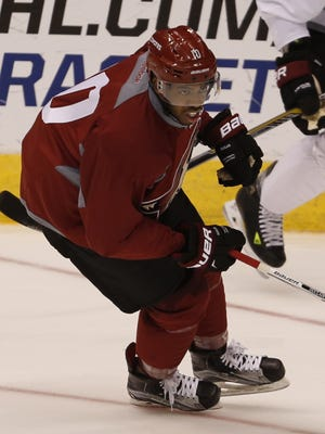 Coyotes forward Anthony Duclair skates during a scrimmage at Gila River Arena in Glendale September 20, 2015.