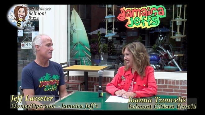 'Belmont Buzz' host Joanna Tzouvelis, senior multimedia journalist of the Belmont Citizen-Herald, interviews Jeffrey Lasseter, the owner of Jamaica Jeff's in Belmont Center.