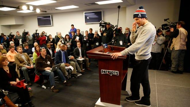 New England Patriots quarterback Tom Brady talks to the media at Gillette Stadium.