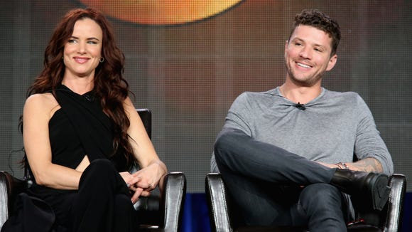 "Ryan Phillippe and Juliette Lewis speak onstage during the ""Secrets and Lies"" panel at the Disney/ABC Television Group portion of the 2015 Winter Television Critics Association press tour in California last month."