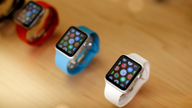 Apple Watches sit on display at an Apple store on Sept. 25, 2015, in Chicago.
