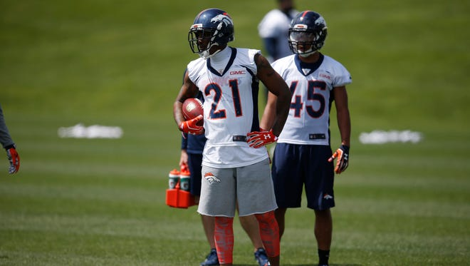 Denver Broncos cornerback Aqib Talib (21) during an NFL football practice Tuesday, May 31, 2016, at the team's headquarters in Englewood, Colo.