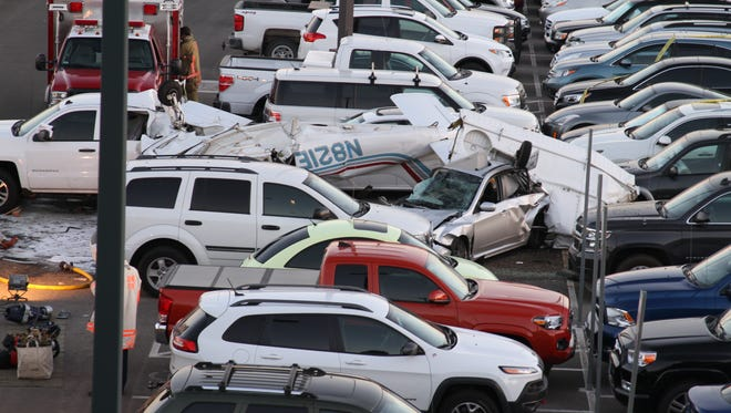 A small aircraft crashed into the surface lot of the Reno-Tahoe International Airport on Sept. 11.