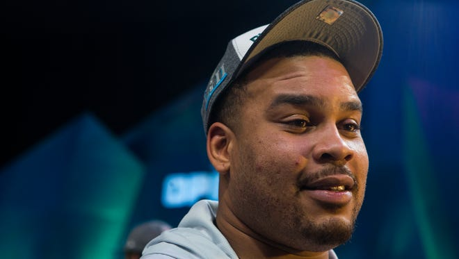 Eagles' Brandon Brooks takes question during the Super Bowl Opening Night Monday at the Xcel Energy Center.