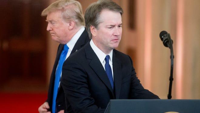 President Donald Trump and Brett Kavanaugh on July 9, 2018.