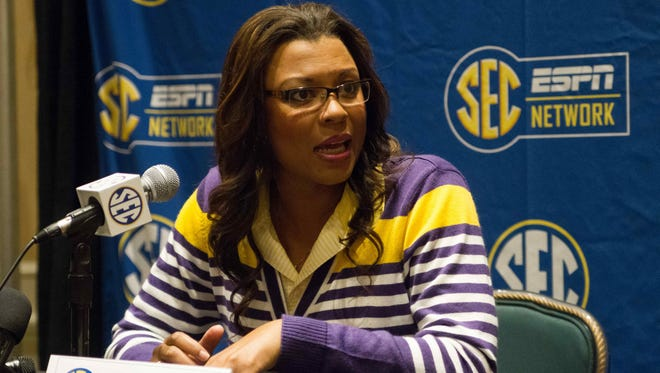 LSU head coach Nikki Caldwell speaks with the media during the SEC media day.