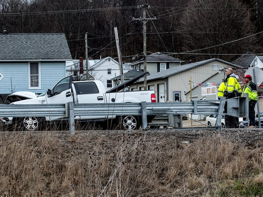 A child died Tuesday morning in a crash involving two pick-up trucks on U.S. 62 and Wells Avenue near Utica.