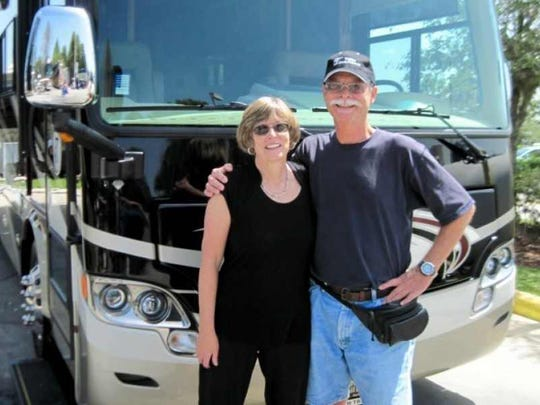 Donna and John Meredith the day they traded in their first RV for a newer model.