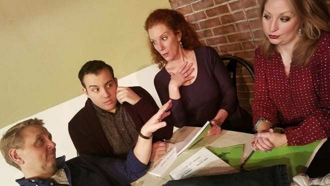 """Two struggling writers and their two actress friends collaborate on the creation of a musical about two struggling writers and their two actress friends collaborating on a musical in """"[title of show],"""" which opens tonight at Women's Theater Co. in Parsippany. The cast of this meta-musical consists of (left to right) Joe Elefante, Gerry Mastrolia, Patricia Durante, and Kathleen Clancy."""