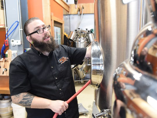 Brewmaster Brandin Stabell prepares to brew a batch of beer at North River Hops and Brewing in Wappingers Falls on Aug. 3, 2016.