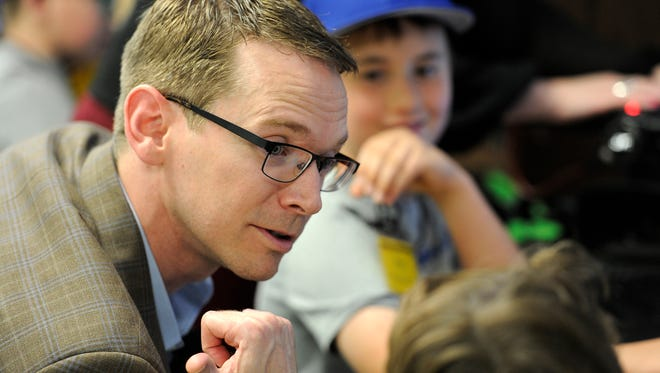 Texas Commissioner of Education Mike Morath talks to teacher Tiffany Loftin while visiting the Abilene ISD Summer Technology Camp on Tuesday, June 6, 2017, at the ATEMS campus.