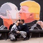 A poster of Donald Trump and Vladimir Putin in Vilnius, Lithuania, on May 14, 2016.