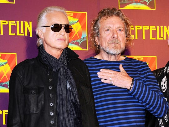 "In this Oct. 9, 2012 file photo, Led Zeppelin guitarist Jimmy Page, left, and singer Robert Plant appear at a press conference ahead of the worldwide theatrical release of ""Celebration Day,"" a concert film of their 2007 London O2 arena reunion show, in New York. Generations of aspiring guitarists have tried to copy the riff from Led Zeppelin's ""Stairway to Heaven."" Starting Tuesday, June 14, 2016, a Los Angeles court will try to decide whether the members of Led Zeppelin themselves ripped off that riff. Page and Plant are named as defendants in the lawsuit brought by the trustee of late guitarist Randy Wolfe from the band Spirit."