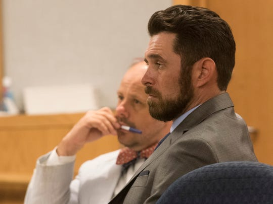 "James Greenwood, right, and his attorney Eric Stephenson listen during a ""stand your ground"" evidentiary hearing before Circuit Judge J. Scott Duncan on Tuesday, June 27, 2017."