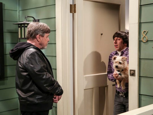 Mark Hamill, left, playing himself, offers to do a favor after Howard (Simon Helberg) finds his dog in 'The Big Bang Theory' season finale. Even Howard is worried about what Hamill is getting himself into.