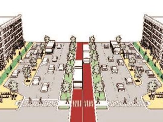 Rendering of a typical cross section of Woodward Ave from 8 mile to Oakridge.
