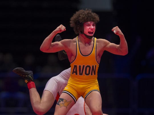 Avon's Asa Garcia reacts after winning the 126 lbs. class during the championship round of the 2018 IHSAA Wrestling State Tournament, February 18, 2018, at Bankers Life Fieldhouse.