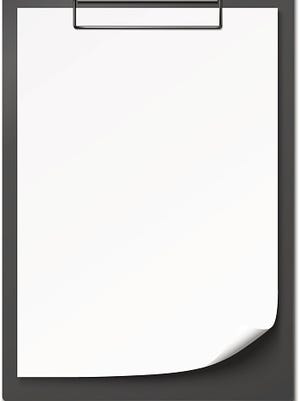 Clipboard with blank paper.
