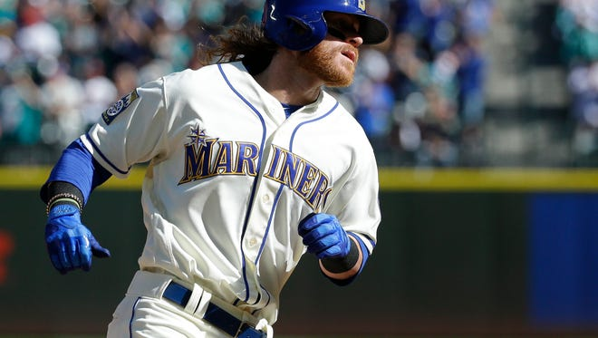 Seattle Mariners Ben Gamel rounds the bases after hitting a two-run home run against the Cleveland Indians in the fifth inning of a baseball game, Sunday, Sept. 24, 2017, in Seattle. (AP Photo/Ted S. Warren)