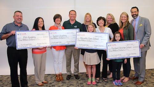 Kosair Charities presented Summit Academy of Greater Louisville, Meredith-Dunn School, Portland Christian School and Pitt Academy with $4 million each.