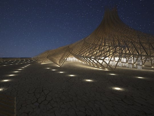 "A rendering of the Burning Man 2018 ""Galaxia"" Temple."