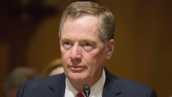 Robert Lighthizer speaks at the Senate Finance Committee hearing on his nomination to be U.S trade representative on March 14, 2017.