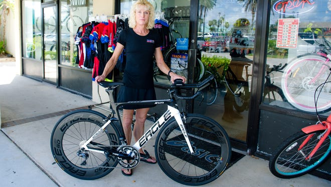 Linda Robb, pictured, met her husband George while on a group bike ride and the two married in 2004, later purchasing a little running shop (Running Sports) which was closing. A few years later, she bought out her partner - and she and George moved across the street to their current location, changing the name to Tri, Bike Run.