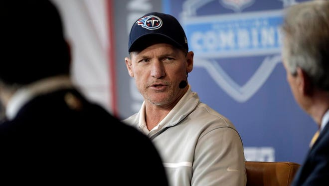 Titans coach Ken Whisenhunt is interviewed at the NFL combine in Indianapolis on Wednesday.