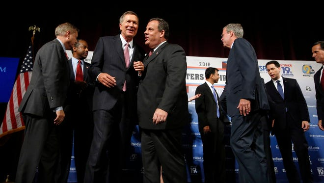 Republican presidential candidates at a forum on  Aug. 3, 2015, in Manchester, N.H.