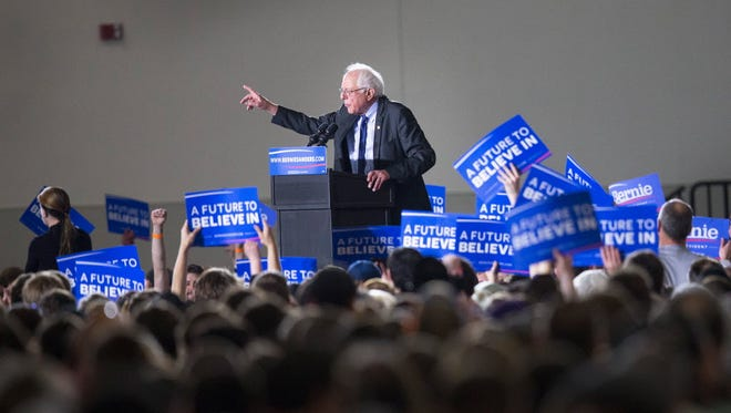 Democratic presidential candidate Sen. Bernie Sanders (I-Vt.) speaks at a campaign rally at the Alliant Energy Center in Madison, Wis., on March 26, 2016.