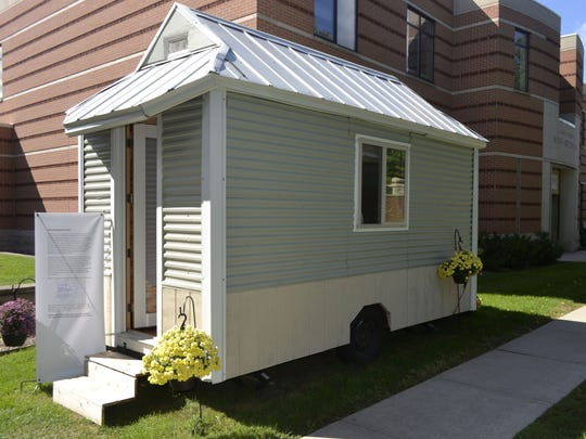 Measuring just 98 square feet, the tiny house built by Pastor Rebecca Rutter is on display outside the Bush Art Center at St. Norbert College in De Pere until Sept. 23. A special open house will be held from 10 a.m.-5 p.m. Saturday during the college's annual SNC Day..