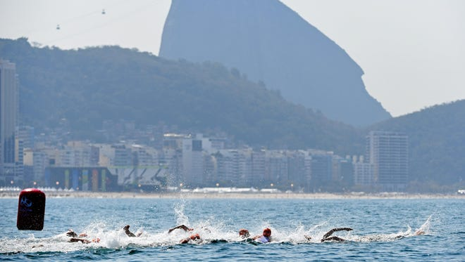 A view of the competitors during the swim portion during the men's triathlon in the Rio 2016 Summer Olympic Games at Fort Copacabana on Aug. 18.