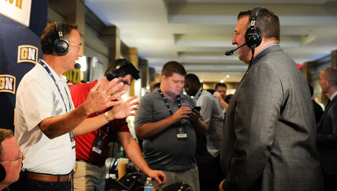Arkansas coach Bret Bielema is interviewed during SEC Media Days at The Wynfrey Hotel in Hoover, Ala., on Monday, July 10, 2017.