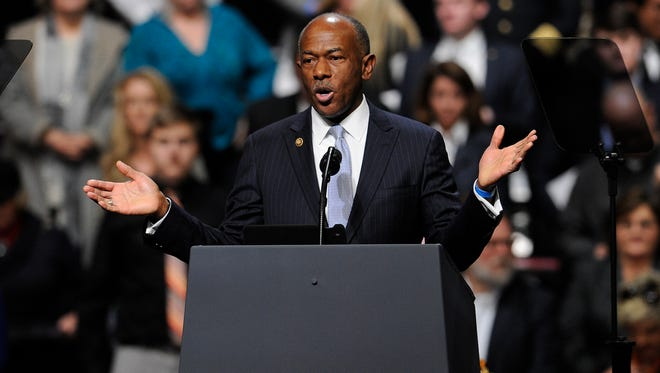 Meharry Medical College president Dr. James E.K. Hildreth delivers the invocation at a rally for President Donald Trump at Municipal Auditorium Wednesday, March 15, 2017 in Nashville, Tenn.
