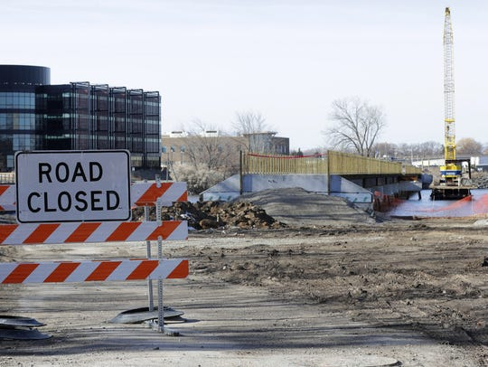 A new bridge in Neenah spans the Fox River between