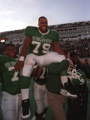 MSU football center and senior Jason Strayhorn (79)